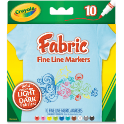 Crayola Bright Fabric Markers - Broad Marker Point - Black, Blue, Brown, White, Gray, Lime, Pink, Red, Teal, Yellow - 10 / Set
