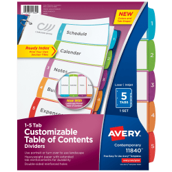 """Avery® Ready Index® Table Of Contents Dividers, 8 1/2"""" x 11"""", White/Multicolor, Pack Of 5"""