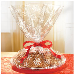 """Amscan Christmas Snowflake Cellophane Cookie Tray Bags, 18"""" x 16"""", Pack Of 36 Bags"""