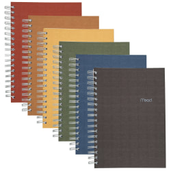 "Mead® 100% Recycled Notebook, 6"" x 9 1/2"", 2 Subjects, College Ruled, 120 Sheets, Assorted Color (No Color Choice)"