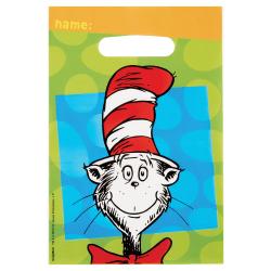 """Amscan Dr. Seuss Cat In The Hat Plastic Loot Bags, 9""""H x 6-1/2""""W x 1/4""""D, 8 Bags Per Pack, Set Of 4 Packs"""