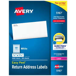 "Avery® Easy Peel® Return Address Labels With Sure Feed™ Technology, 5167, 1/2"" x 1 3/4"", White, Box Of 8,000"