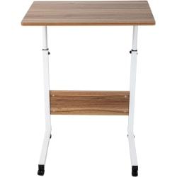 "Mind Reader 24""W Height-Adjustable Rolling Laptop Desk, Brown/White"