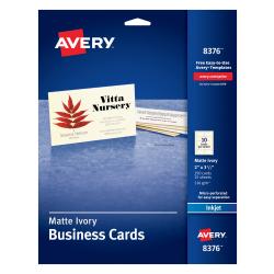 """Avery® Inkjet Microperforated Business Cards, 2"""" x 3 1/2"""", Ivory, Pack Of 250"""