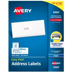 """Avery® Easy Peel® White Inkjet Address Labels, 8460, 1"""" x 2 5/8"""", Box Of 3,000"""