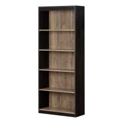 "South Shore Axess 68-3/4""H 5-Shelf Bookcase, Weathered Oak/Rubbed Black"