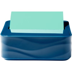 "Post-it® Pop-up Note Wave Dispenser - 3"" x 3"" Note - 45 Sheet Note Capacity - Metallic Blue"