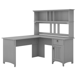 "Bush Furniture Salinas 60""W L Shaped Desk with Hutch, Cape Cod Gray, Standard Delivery"