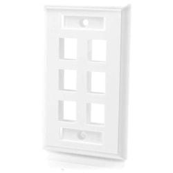 C2G 6-Port Single Gang Multimedia Keystone Wall Plate - White - 6 x Socket(s) - White