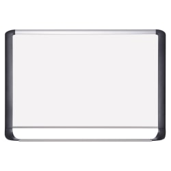 """MasterVision® Porcelain Dry-Erase Whiteboard, 48"""" x 96"""", Aluminum Frame With Silver Finish"""
