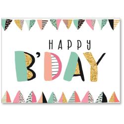 "Viabella Birthday Greeting Card With Envelope, Happy B-Day, 5"" x 7"""