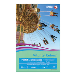"""Xerox® Vitality Colors™ Multi-Use Printer Paper, Ledger Size (11"""" x 17""""), 20 Lb, 30% Recycled, Green, Ream Of 500 Sheets"""