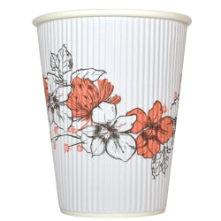 Hotel Emporium Floral Ripple Hot Cups, 12 Oz, 100% Recycled, White, Pack Of 500 Cups