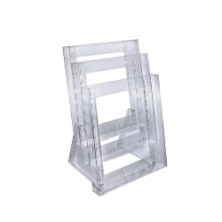 "Azar Displays Tiered Modular 3-Pocket Crystal Styrene Brochure Holders, 14 3/4""H x 9""W x 7""D, Clear, Pack Of 2"