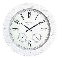FirsTime & Co.® Shiplap Planks Outdoor Wall Clock, Aged White
