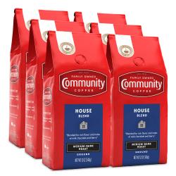 Community Coffee Arabica Ground Coffee, House Blend, 12 Oz Per Bag, Carton Of 6 Bags