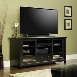 """Sauder Edge Water Entertainment Credenza TV Stand For TVs Up To 55"""", Estate Black"""