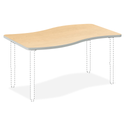 "HON® Build Series Ribbon-Shape Table Top, 1 1/8""H x 54""W x 30""D, Maple"