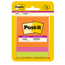 """Post-it® Super Sticky Notes, 3"""" x 3"""", Rio de Janeiro, Pack Of 3 Pads"""