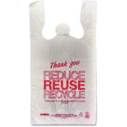 "Unistar Plastics Thank You Eco-friendly Bag - 11.50"" Width x 21.50"" Length x 6.50"" Depth - 47 mil (1194 Micron) Thickness - Red - Plastic - 1000/Carton"