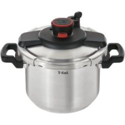 T-Fal Clipso Cookware - 6.3 quart Pressure Cooker - Stainless Steel - Cooking - Dishwasher Safe - Silver, Gray