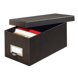 """Globe-Weis® 70% Recycled Index Card Storage Case, 5""""H x 6 5/8""""W x 11 5/8""""D, For 4"""" x 6"""" Cards, Black"""
