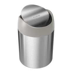 "simplehuman Mini Round Steel Trash Can, 7-3/8""H x 5""W x 5""D, 1.6 Qt, Stainless Steel"