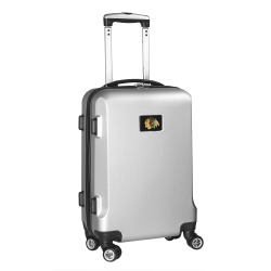 """Denco 2-In-1 Hard Case Rolling Carry-On Luggage, 21""""H x 13""""W x 9""""D, Chicago Blackhawks, Silver"""