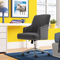 Serta® Leighton Home Mid-Back Office Chair, Twill Fabric, Graphite/Chrome