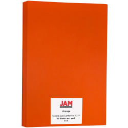 """JAM Paper® Cover Card Stock, 11"""" x 17"""", 65 Lb, 30% Recycled, Orbit Orange, Pack Of 50 Sheets Sheets"""