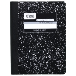 Composition Book, Wide-Ruled, 50 Sheet (100 Pages), Black