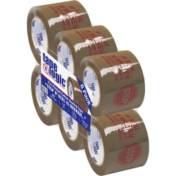 "Tape Logic® Stop If Seal Is Broken Preprinted Carton-Sealing Tape, 3"" Core, 3"" x 110 Yd., Red/Tan, Case Of 6"