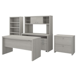 kathy ireland® Office by Bush Business Furniture Echo Bow Front Desk, Credenza With Hutch, Bookcase And File Cabinets, Gray Sand, Premium Installation