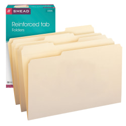 Smead® Reinforced Tab File Folders, Legal Size, 1/3 Cut, Manila, Box Of 100