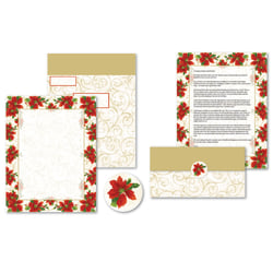 """Great Papers!® Holiday Seal And Send Invitations, 8 1/2"""" x 11"""", Poinsettia Swirl, Pack Of 50 Invitations"""