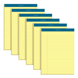 "TOPS™ Double Docket™ Writing Pads, 8 1/2"" x 11 3/4"", Narrow Ruled, 100 Sheets, Canary, Pack Of 6 Pads"