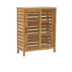 """Linon Home Decor Products Bullock 26""""W Double-Door Bamboo Cabinet, Natural"""