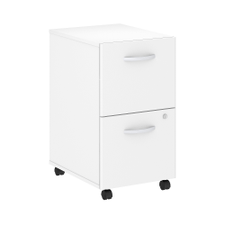 "Bush Business Furniture Studio C 20-1/4""D Vertical 2-Drawer Mobile File Cabinet, White, Standard Delivery"