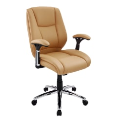 Realspace® Eaton Bonded Leather Manager Mid-Back Chair, Tan/Black/Chrome
