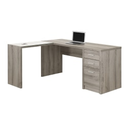 "Monarch Specialties Corner Computer Desk With 3-Drawers, 60""W x 55""D, Dark Taupe"