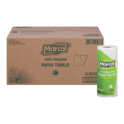 "Marcal® Small Steps™ Paper Towels, 9"" x 11"", 100% Recycled, White, 60 Sheets Per Roll, Case Of 15 Rolls"