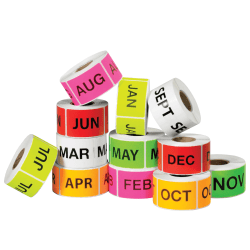 """Tape Logic® Months Of The Year Labels, DL1238, 2"""" x 3"""", Assorted Colors, 500 Labels Per Roll, Pack Of 12 Rolls"""