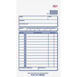 "Rediform Carbonless 2-part Sales Book Forms - 50 Sheet(s) - Stapled - 2 Part - Carbonless Copy - 3 3/8"" x 6 5/8"" Sheet Size - 2 x Holes - Assorted Sheet(s) - Blue Print Color - 1 Each"