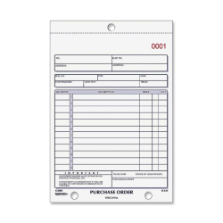 "Rediform 2-part Carbonless Purchase Order Book - 50 Sheet(s) - 2 PartCarbonless Copy - 5 1/2"" x 7 7/8"" Sheet Size - Assorted Sheet(s) - Blue Print Color - 1 Each"