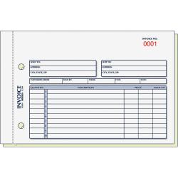 "Rediform 2-Part Carbonless Invoice Form - 50 Sheet(s) - Stapled - 2 Part - Carbonless Copy - 7 7/8"" x 5 1/2"" Sheet Size - 2 x Holes - Blue, Red Print Color - 1 Each"