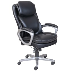 Serta® Smart Layers™ Arlington Executive Bonded Leather High-Back Chair, Black/Silver