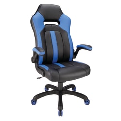 Realspace® Bonded Leather High-Back Gaming Chair, Blue/Black