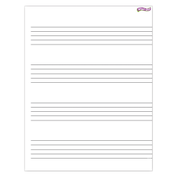 "Trend Enterprises Music Staff Papers Wipe Off Charts, 22"" x 17"", White, Pack Of 6"