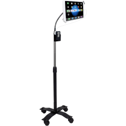 """CTA Digital Compact Security Gooseneck Floor Stand for 7-13 Inch Tablets - Up to 13"""" Screen Support - 7"""" Height x 17.5"""" Width - Floor Stand - Black, Silver"""