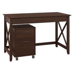 """Bush Furniture Key West 48""""W Writing Desk With 2 Drawer Mobile File Cabinet, Bing Cherry, Standard Delivery"""